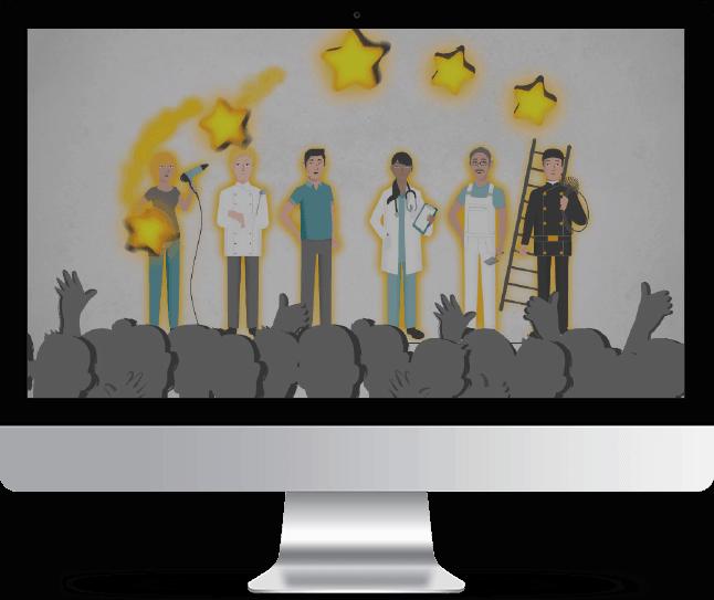 Computer Mockup Sterne für Unternehmen