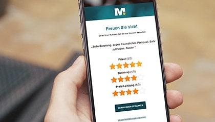 Meinungsmeister Mobile Bewertungsalarm App