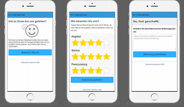 Web App Bewertungen Screens
