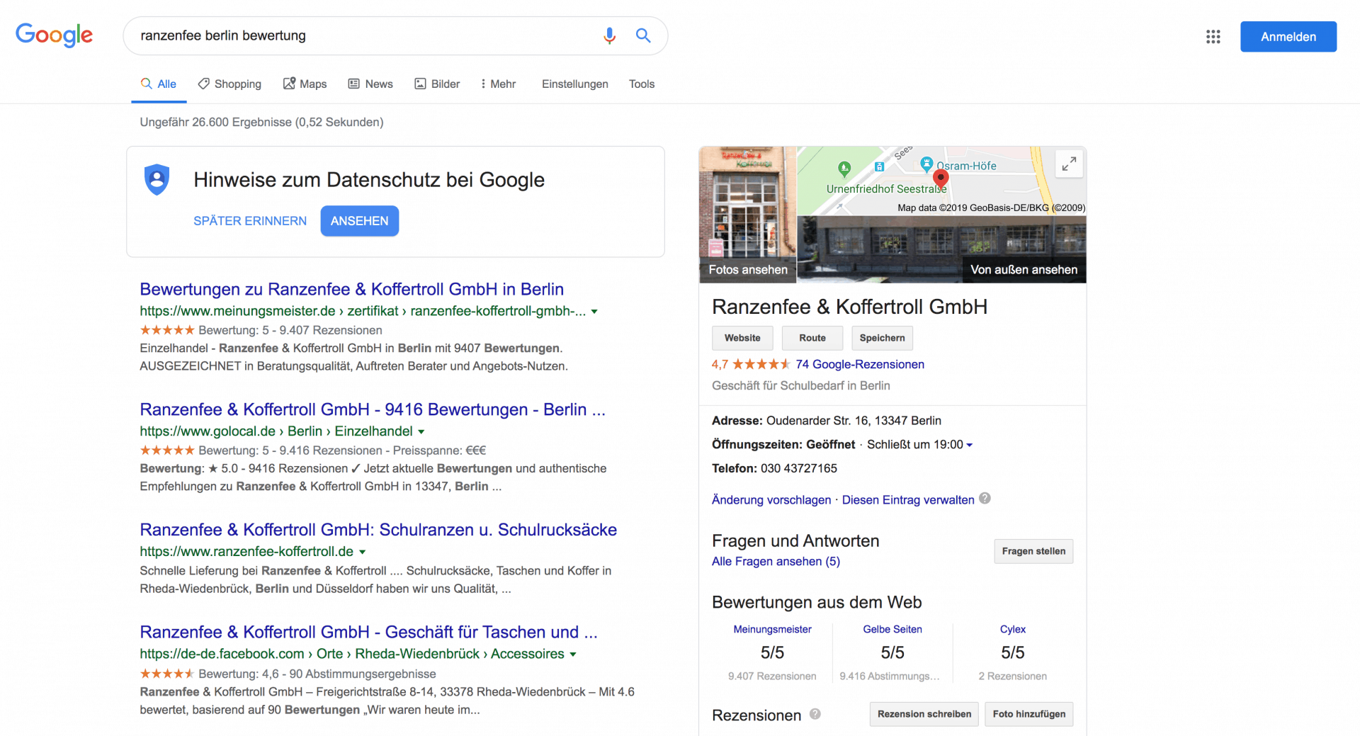 Ranzenfee Berlin Google Review Snippets