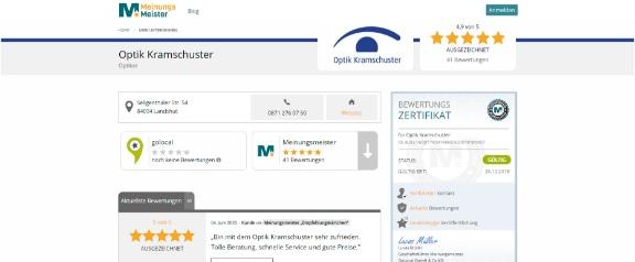Meinungsmeister Zertifikatsseite für Bewertungen