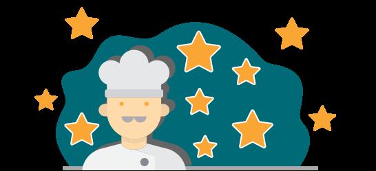 Sterne Bewertung für Köche