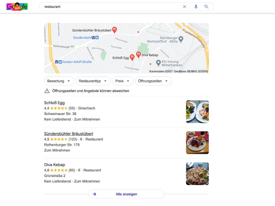 lokale suche restaurant nuernberg