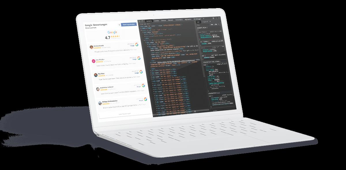 Laptop mit Google Widget und Developer Modus
