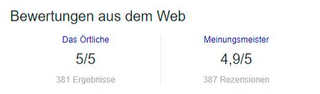 Bewertungen aus dem Web im Google Knowledge Panel